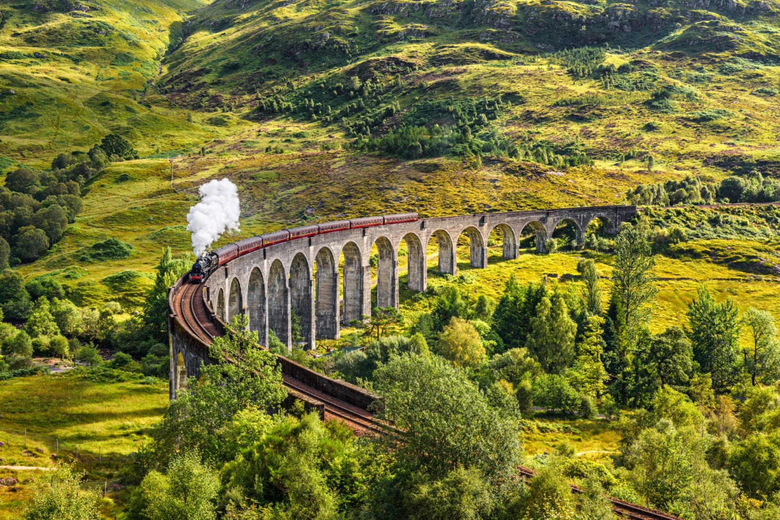 Glenfinnan,Railway,Viaduct,In,Scotland,With,The,Jacobite,Steam,Train